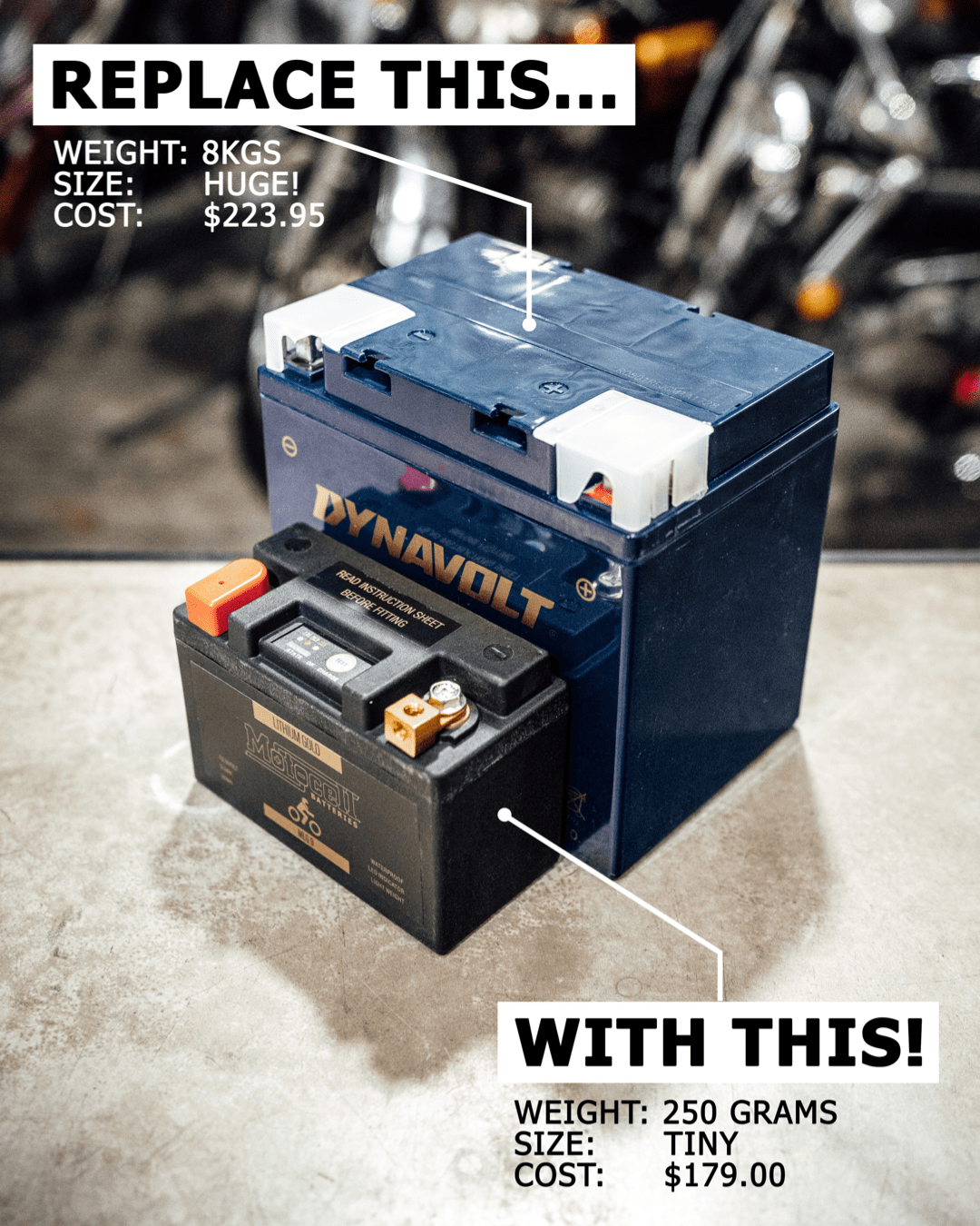 MOTOCELL LITHIUM GOLD MOTORCYCLE BATTERY AUSTRALIA